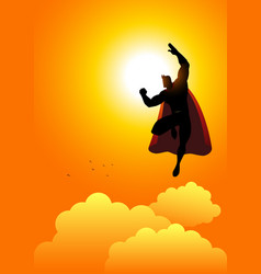 cartoon silhouette of a superhero flying at vector image