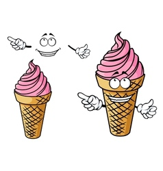 Cartooned strawberry pink ice cream character vector