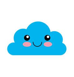 Cloud computing kawaii character vector