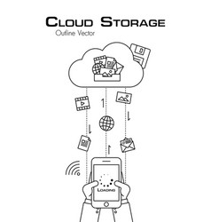 cloud storage person use phone to download more vector image