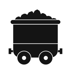 Coal trolley black simple icon vector image