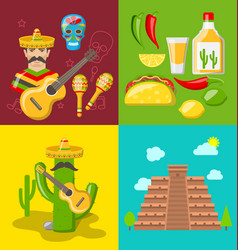 collection banners of mexican icons vector image