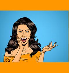 comic beautiful surprised woman vector image