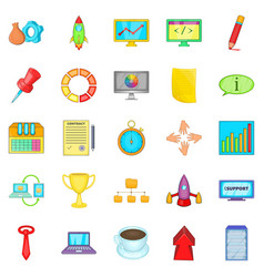 conglomerate icons set cartoon style vector image