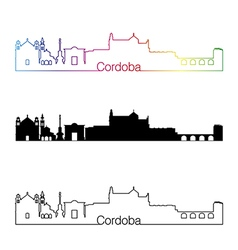 Cordoba skyline linear style with rainbow vector