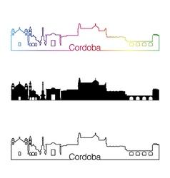 Cordoba skyline linear style with rainbow vector image vector image