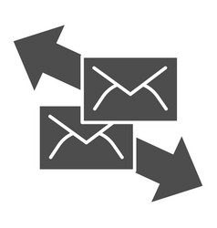 correspondence with direction arrows solid icon vector image