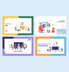 Creative teamwork concept set landing page vector