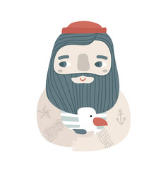 cute cartoon sailor with seagull creative vector image