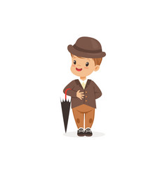 cute little boy wearing brown suit and hat holding vector image