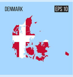 Denmark map border with flag eps10 vector