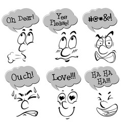 different facial expressions with words vector image