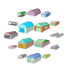 different hangars icons set cartoon style vector image