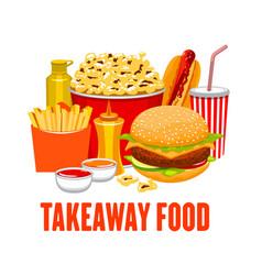 Fastfood drinks snacks takeaway street food vector