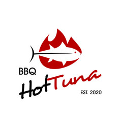 fish barbecue logo vector image