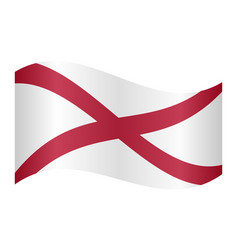 Flag of alabama waving on white background vector