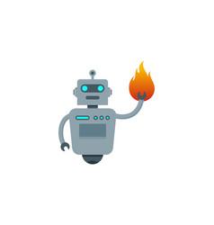 Flame robot logo icon design vector