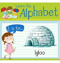 Flashcard letter I is for igloo vector