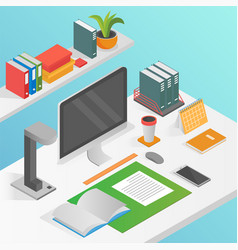 Flat isometric workspace work place concept vector