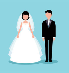 flat style bride and groom vector image