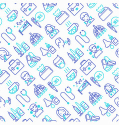 Flu and symptoms seamless pattern vector