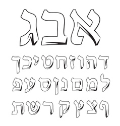 Font Hebrew Alphabet Jewish graphic vector