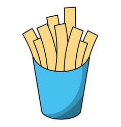 french fries box cartoon vector image