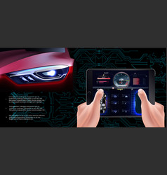 Futuristic red car on a technological background vector