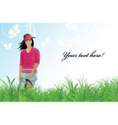 girl field vector image vector image