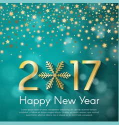 Golden new year 2017 concept on turquoise blurry vector