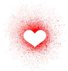 graffiti heart spray design element in white red vector image