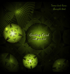 Green greeting card with abstract round patterns vector