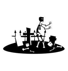 halloween cemetery flat single icon halloween vector image