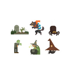 halloween icons set grave with tombstone witch vector image