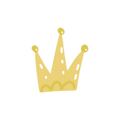 hand drawn crown icon golden style isolated for vector image