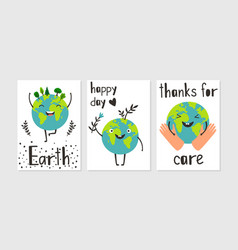 happy planet poster set vector image