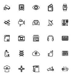 Hitechnology line icons on white background vector image