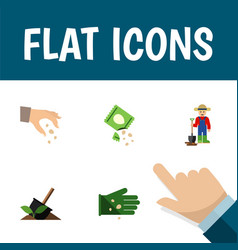 Icon flat sow set of hand shovel legume vector