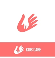 Isolated child and adult hands logo vector