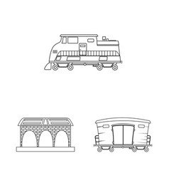 isolated object of train and station logo set of vector image