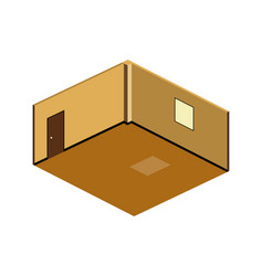 isometric view of brown empty room with sunset vector image