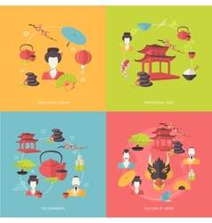 Japan icons flat vector image