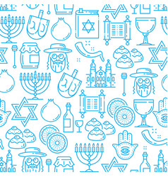 Judaism religion seamless pattern jewish symbols vector