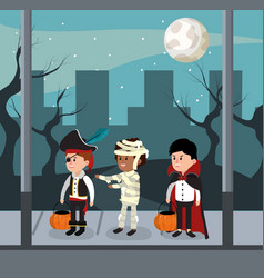 Kids and halloween night vector