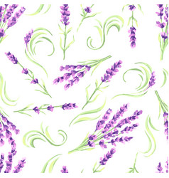lavender flowers seamless pattern watercolor vector image