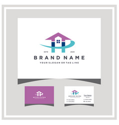 Letter h home logo design and business card vector
