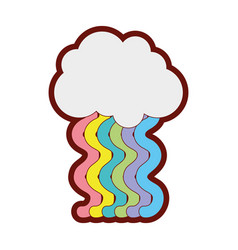 line color cloud with bright rainbow with sky vector image
