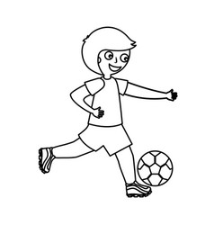 Little boy playing soccer vector
