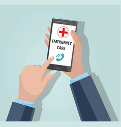 Man dialing emergency on smartphone vector