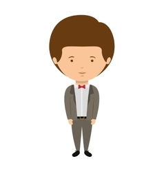 Man dressed formal style with bowtie vector